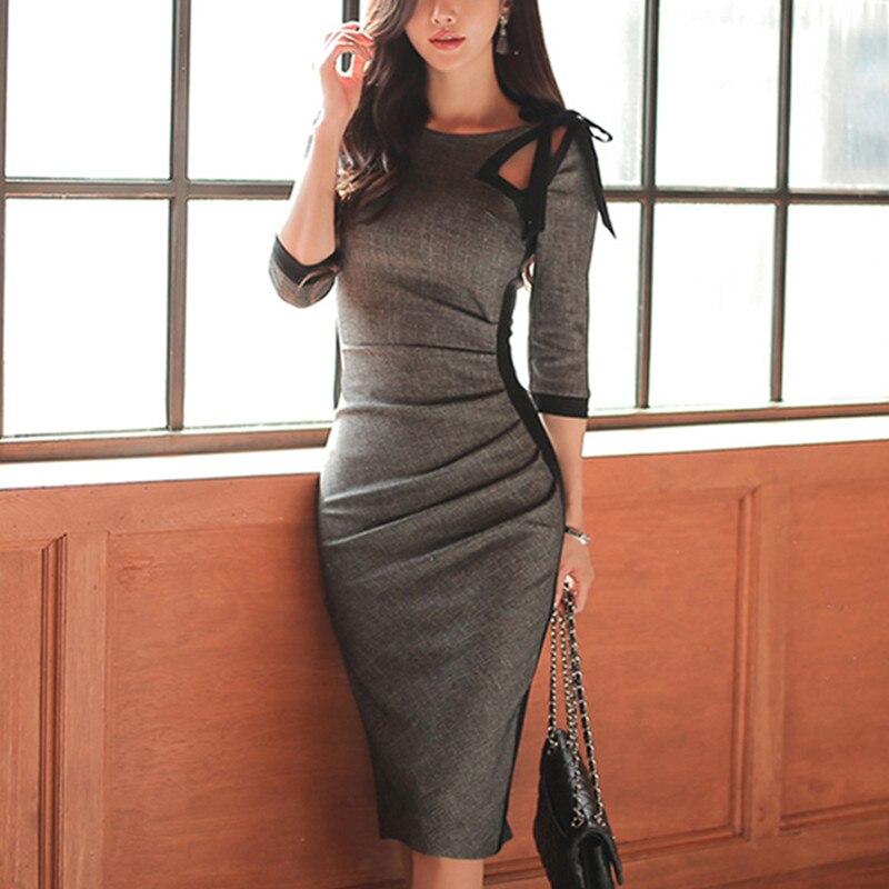 2017 Vintage Gray Half Sleeve Slim Formal Club Party Dress Bodycon Pencil Dress Spring Autumn