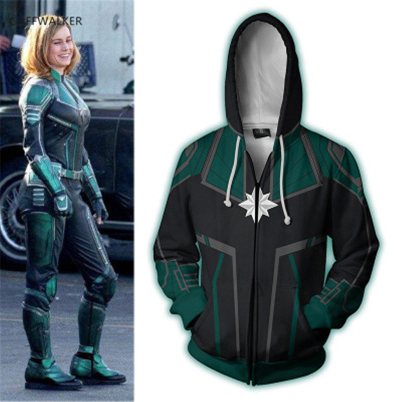 Dropshipping Captain Marvel 3D Print For Men's Women's unisex Zippers Hooded Hip hop Hoodies Pullover Pocket Lace Loose Tops