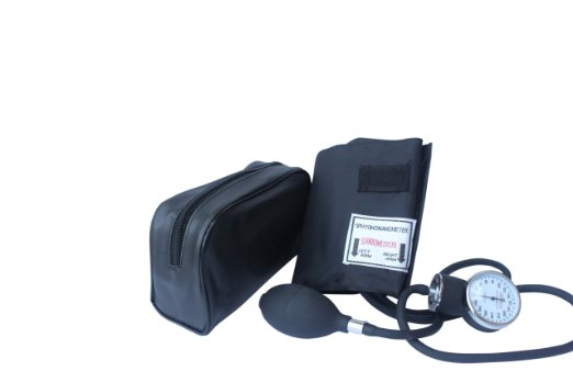 Santamedical Adult Deluxe Aneroid Sphygmomanometer - Professional Blood Pressure Monitor with Adult black cuff and Carrying case deluxe carrying case