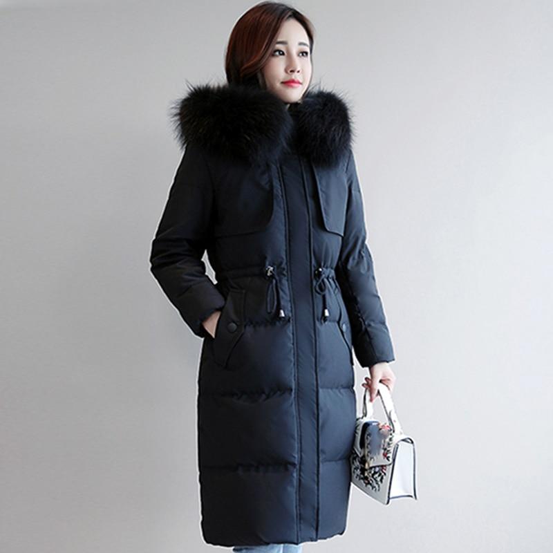 New Winter White Duck Down Jacket 2018 Women Elegant Long Slim Parka With Fur Collar Hooded Down Coat Female Snow Warm Outwear