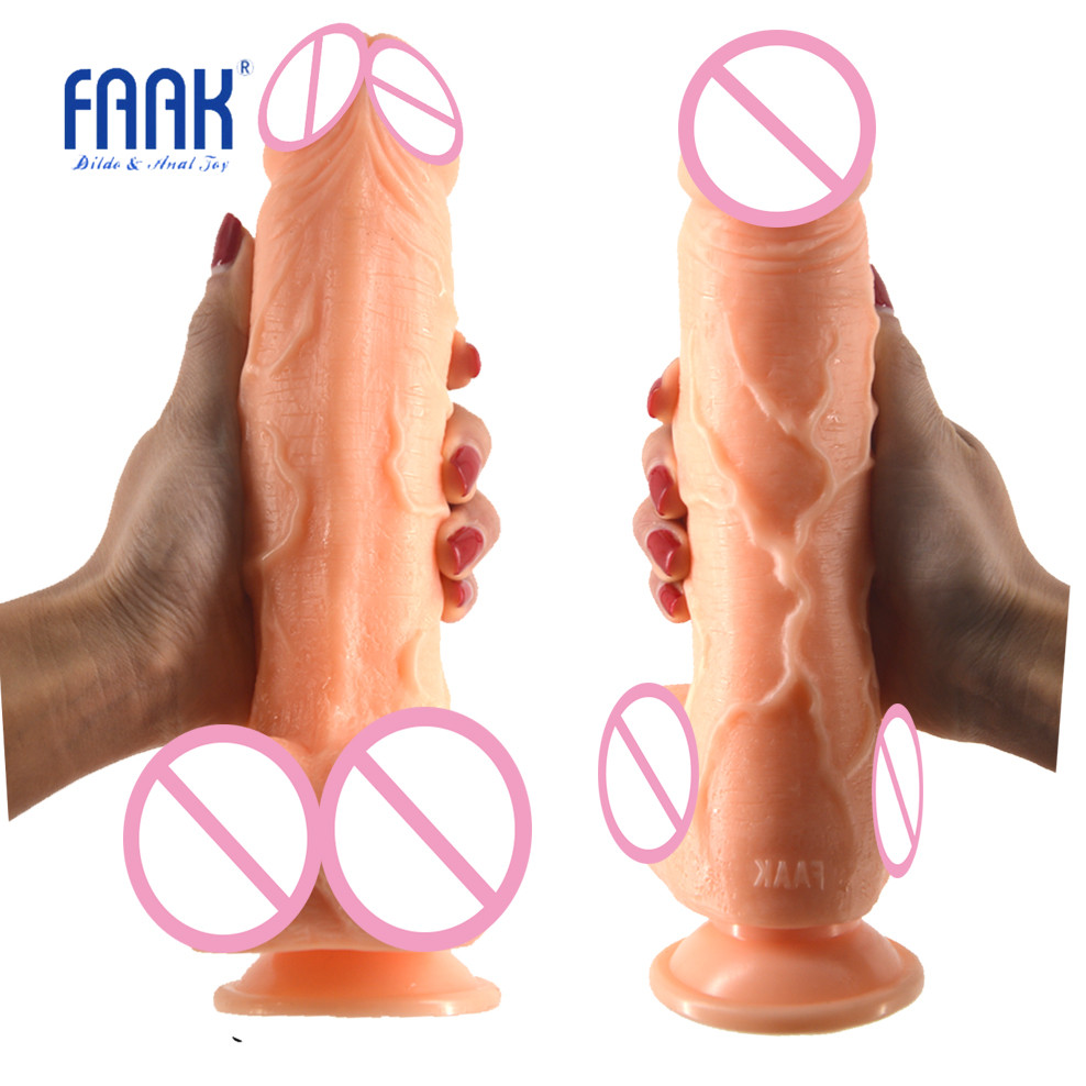 FAAK Big dildo realistic penis artificial dick skin color suction sex toys for women masturbate erotic products discreet package wearable penis sleeve extender reusable condoms sex shop cockring penis ring cock ring adult sex toys for men for couple
