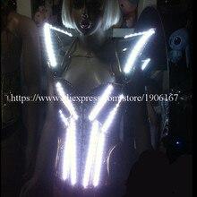 Новый Дизайн подсветкой шоу на сцене Для женщин костюм LED Мужская Одежда DJ Костюмы Вечернее Платье вечеринок
