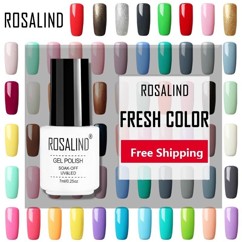 ROSALIND 7ML Gel Varnish Hybrid Nails Art Vernis Semi Permanent UV Gel Nail Polish Set For Manicure Soak Off Top Base White Gel