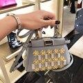 2016 bolsa de mensajero de la manera rebordeó el mini peekaboo bolso de cuero famoso diseñador de la marca mujeres bolso de la alta calidad femininas sac femme