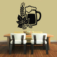 Wall Decals Vinyl Decal Sticker Art Mural Kitchen Decor Beer Floral Design