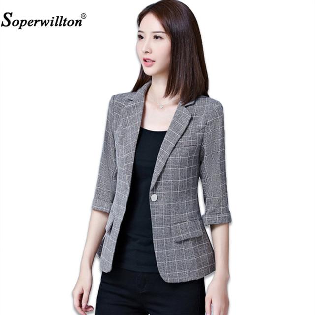 7c3655fce54 Soperwillton 2018 Autumn Jacket   Blazers Plus Size Gray Women s Blazer  Tops Korean OL Style Coat One Button Blazer Female  A980