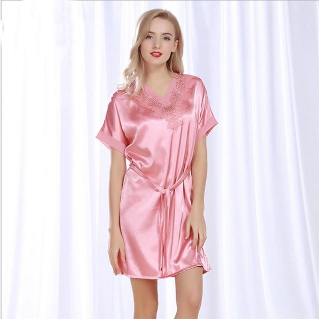 Women Silk Satin Nightgown Short Sleeve Night Shirt V neck ...