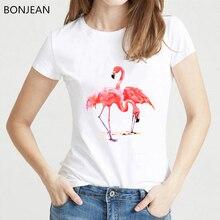2019 summer tops T-Shirts women Harajuku Kawaii Cartoon Flamingo Clothing Tee Shirt Femme Tops tumblr T Female t-shirt