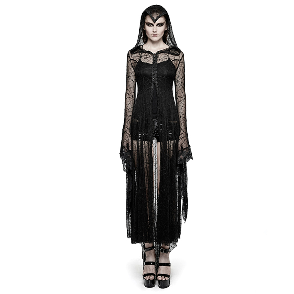 Для женщин осень стимпанк Черный с капюшоном и длинными рукавами Блузка Хеллоуин костюм Длинное пальто с капюшоном Готический Seethrough кружев