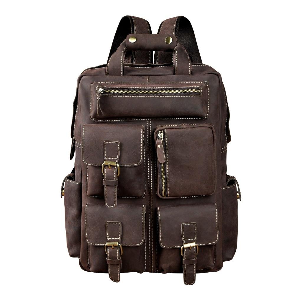 Men Original Leather Fashion Travel University College School Book Bag Designer Male Backpack Daypack Student Laptop Bag 1170 circle