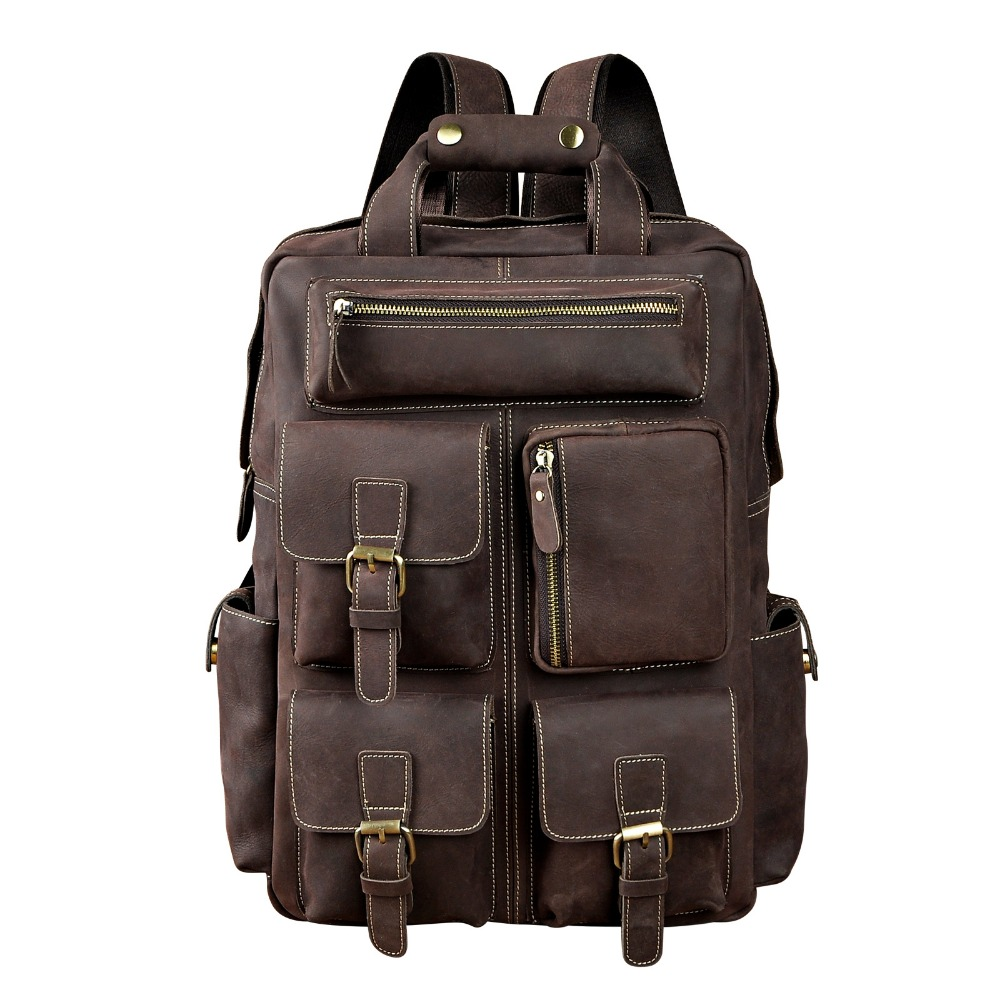 Men Original Leather Fashion Travel University College School Book Bag Designer Male Backpack Daypack Student Laptop Bag 1170 men crazy horse real leather fashion travel bag university school book bag cowhide design male backpack daypack student bag male