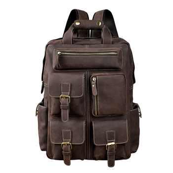 Men Original Leather Fashion Travel University College School Book Bag Designer Male Backpack Daypack Student Laptop Bag 1170