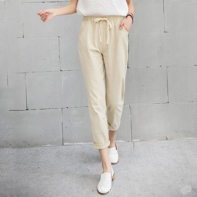 New Women Casual Harajuku Spring Autumn Long Trousers Solid Elastic Waist Cotton Linen Pants 25