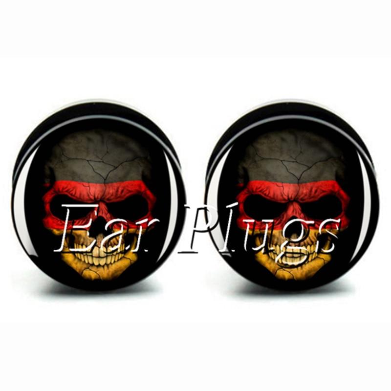 Wholesale 60pcs Germany skull plug gauge acrylic screw ear plug flesh tunnel body piercing mix size 6mm-25mm A0473