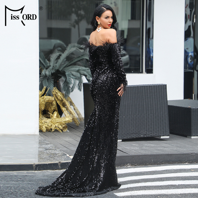 Missord 2019 Sexy Off Shoulder Feather LongSleeve Sequin floor length Evening party Maxi Reflective  Dress Vestdios FT19005 2