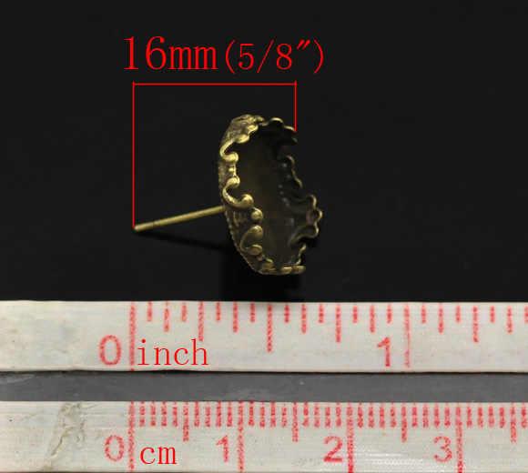 """Doreenperles boucles d'oreilles en alliage de Zinc résultats des réglages de Cabochon en Bronze Antique rond (convient à 13.5mm) 16mm (5/8 """") x 15mm (5/8""""), 2 pièces"""