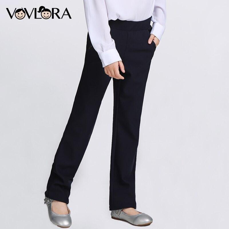 VOVLORA 2017 Leggings Girls Trousers Dark blue Solid Mid Long Straight Regular Pants Plus size Baby Girls School Pants 9 10 12 napapijri guji check dark blue