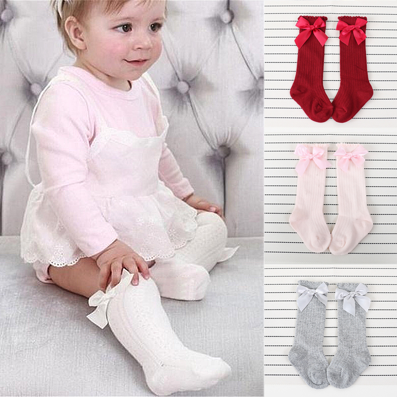 New Kids Cute Toddlers Girls Big Bow Knee High Long Soft Cotton Lace Baby Socks