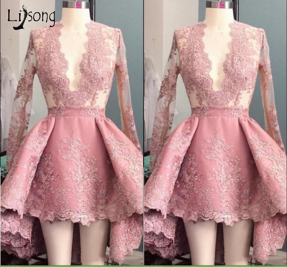 Gray Pink Lace Short Cocktail Dresses 2016 Puffy Lady Formal Party Dress Sexy Deeep V neck