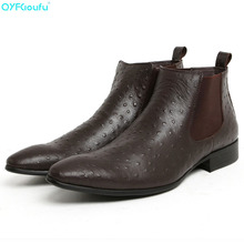 Mens Pointed Toe Chelsea Boots Ostrich Pattern Slip-on Ankle Boots Business Man Genuine Leather  Dress Boots Shoes