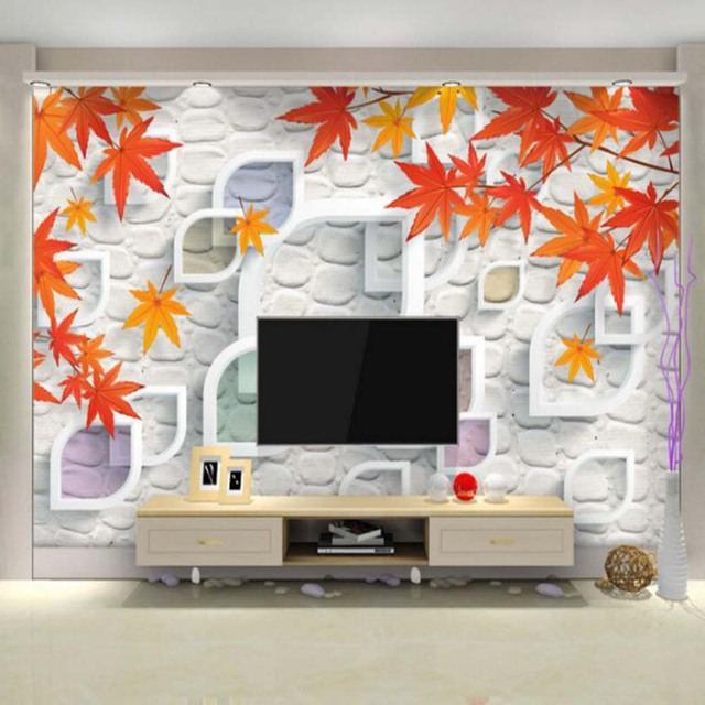 3D Blatt Foto HD Wandbild Größere Tapeten Für Schlafzimmer Wohnzimmer  RoomWall Decor Moderne Tapeten Malerei Blätter