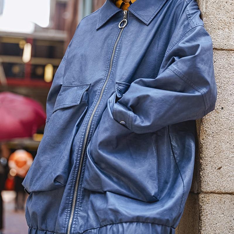 Pardessus Grande 2019 Bleu Cuir Femme Style De coat Poche Harajuku Streetwear Nouveauté Femmes Faux Manteau Blue Trench En Printemps Mode TpEwq1