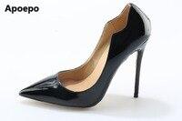 Apoepo Venta caliente mujeres negro cuero bombas 10 cm/12 cm fino y Tacones altos precio barato vestido de fiesta zapatos tamaño grande