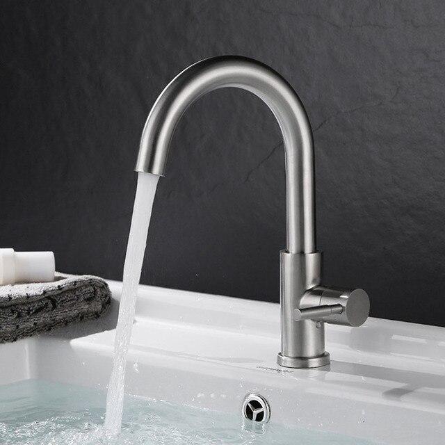 Sus304 acciaio inox rubinetto del bacino freddo singolo rubinetti lavandino bagno rotazione - Rubinetto lavandino bagno ...