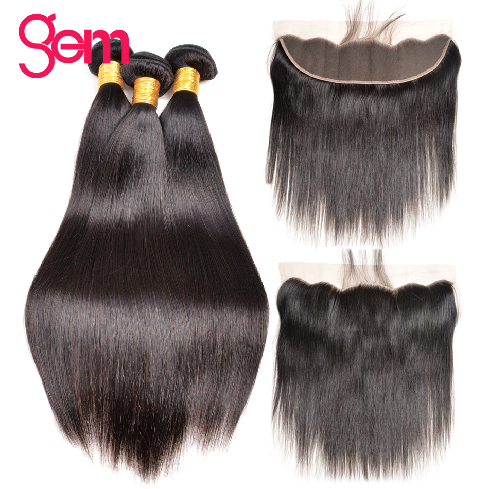 Peruvian Straight Hair Bundles with Lace Frontal 100 Human Hair 3 Bundles With 13x4 Frontal Baby