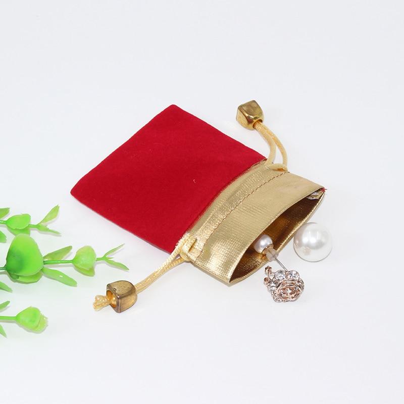 100pcs /Lot 10*12cm Bracelet Necklace Jewelry Velvet Bag Custom Logo Print  Pouch Wholesale Drawstring Bags For Wedding Gifts