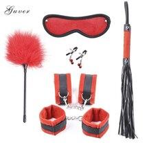 6Pcs/set Guver Bondage Toys Short Plush Hand-Footcuffs Leather Whip Eyemask Nipple Clamps Kit Fetish Feather Sex Toys for Couple