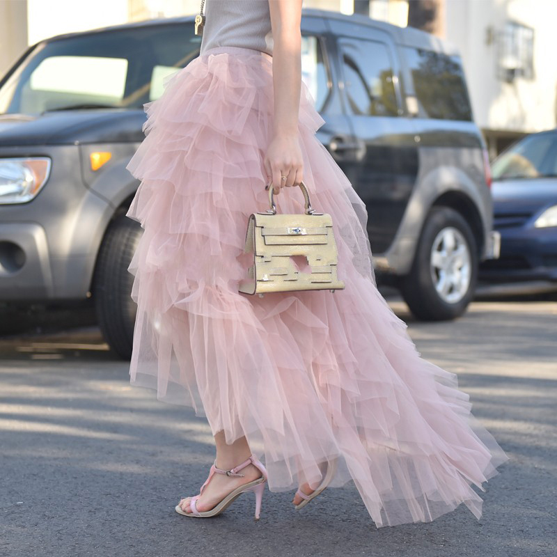 Unique 2018 Pink Tulle Skirts For Pretty Women Chic Special Tiered Ruffles Tutu Skirt High Low
