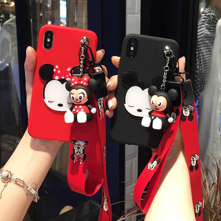 3D Cute Minnie Mickey Pooh Soft Case Toy Stander + Strap For Xiaomi Mi 6 5 5S A1 5X Max 2 Redmi 5 Plus Note 5A 4X 4 4A Note 5Pro