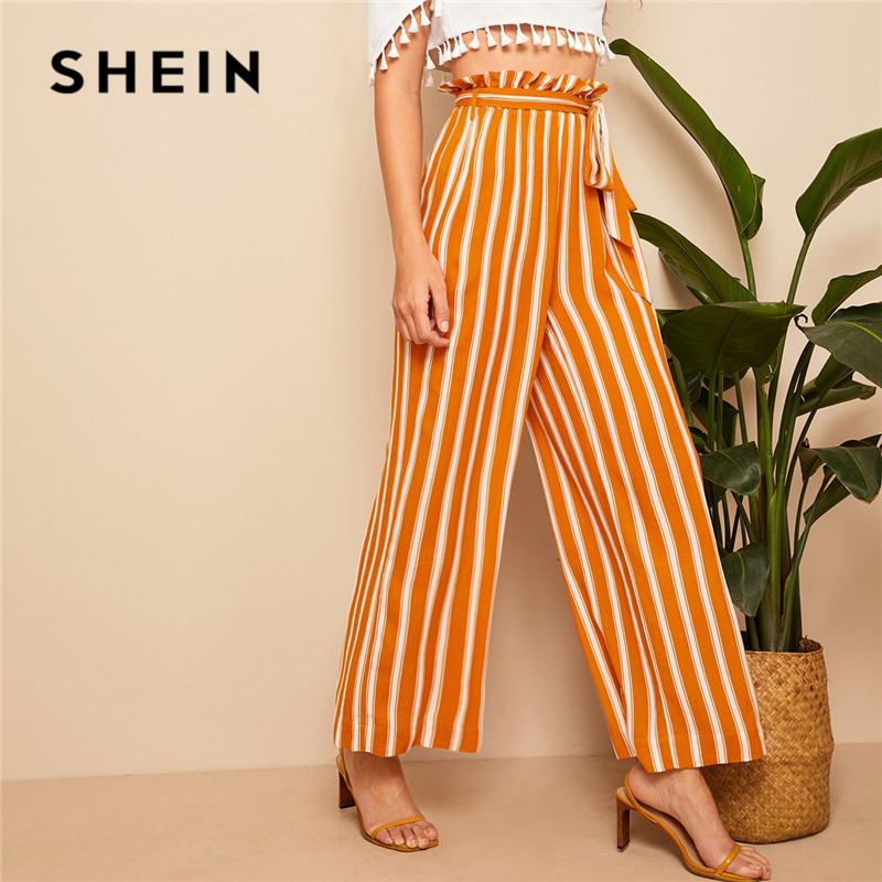 SHEIN Orange Paperbag Waist Self Belted Striped Palazzo   Pants   Women Spring Casual High Waist   Wide     Leg     Pants   2019 Loose Trousers