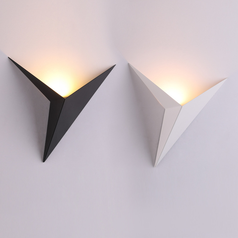 Wall lamp  wrought iron abnormity triangle simple bedroom study hotel guest room bedside led wall lamp lens headlight|Wall Lamps| |  - title=