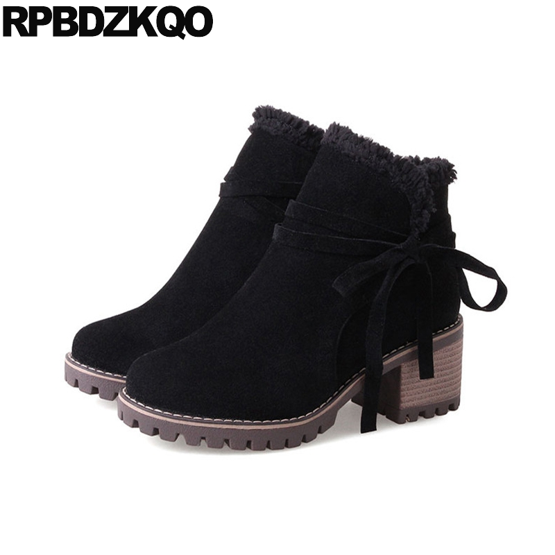 10 Boots Side Zip Ankle Fur Bow Autumn Black Round Toe Platform Elegant Chunky Plus Size Fashion Chinese Female Ladies Short New women irresistible suede color patchwork ankle boots round toe chunky heels classic side zip short boots new arrival this year