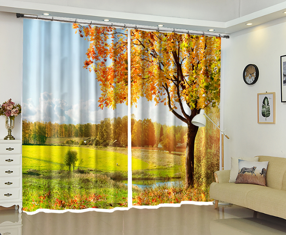 Big tree by the pool on green lawn 3d Digital Printing Stereo Cutoff Curtains High Precision Black Silk