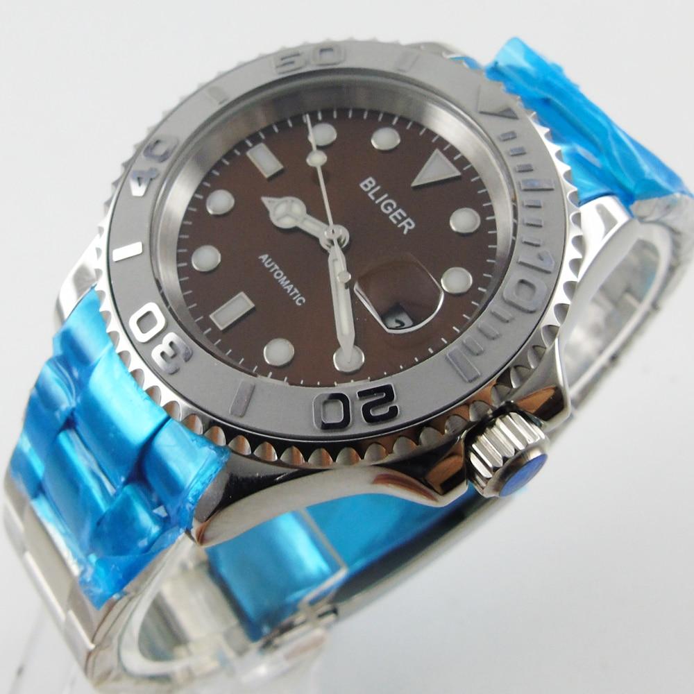 Bliger 40mm coffee dial date Ceramics Bezel luminous saphire glass Automatic movement Men's watch