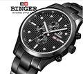 Relógios homens de luxo da marca suíça BINGER Quartzo masculino relógio de aço inoxidável completa de Pulso à prova d' água 100 M BG-0401