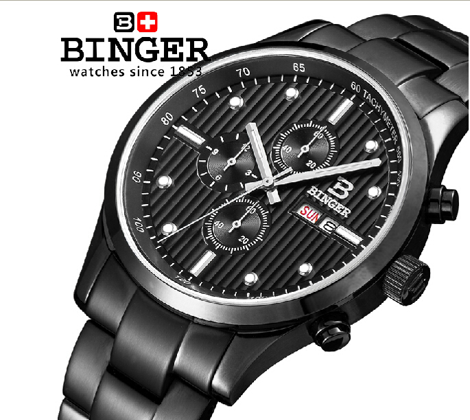 Switzerland men's watch luxury brand Wristwatches BINGER Quartz full stainless male watch steel waterproof 100M BG-0401 2016 switzerland luxury watch men binger brand quartz full stainless wristwatches waterproof complete calendar guarantee b3052b6