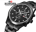 Switzerland watches men luxury brand Wristwatches BINGER Quartz full stainless male watch steel waterproof 100M BG-0401