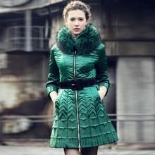 2013 Women Winter Super Embroidery Slim Cropped sleeves Trumpet sleeves Down jackets Raccoon Fur collar Luxurious Coat Free EMS