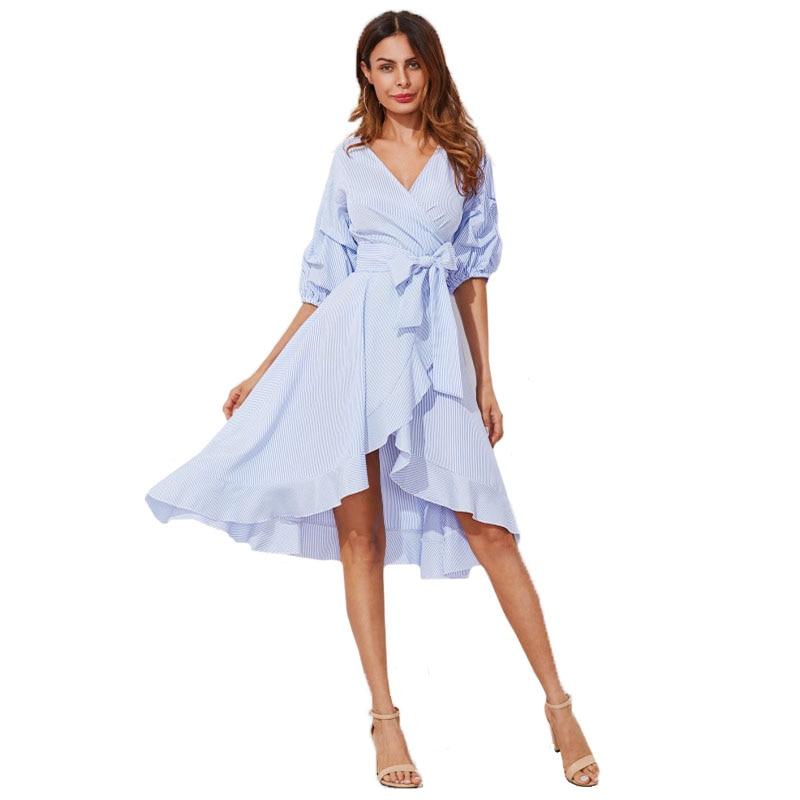 Gathered Sleeve Surplice Wrap Blue Pinstripe Women Summer