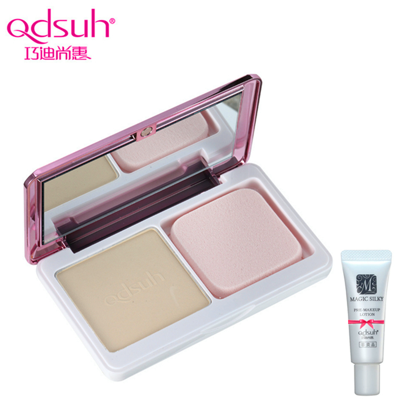 Qdsuh Crystal Natural Ended Dual Use Powder Pressed Cream Foundation Concealer Makeup Contour Palette Highlighter Base