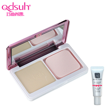Qdsuh Crystal Natural Ended Dual Use Powder Pressed Cream Foundation Concealer Makeup Contour Palette Highlighter Base Primer