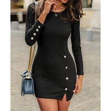 Sexy Women Ladies Dresses Solid Color Slim Fit Sexy Button Long Sleeve Split Casual Sweater Dress Evening Party Club Dresses(China)