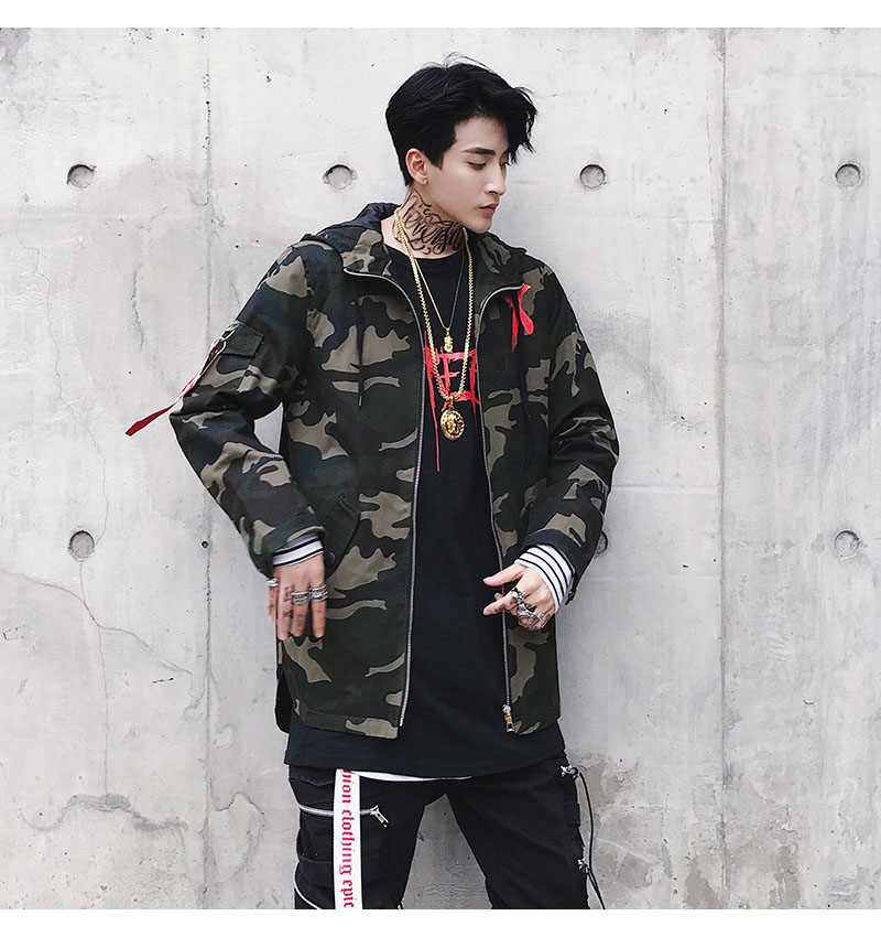97fa1ac9f119f ... Aolamegs Jackets Men X Print Camouflage Jacket Tracksuit Hooded Zipper  Coats Hip Hop Fashion Male Loose ...