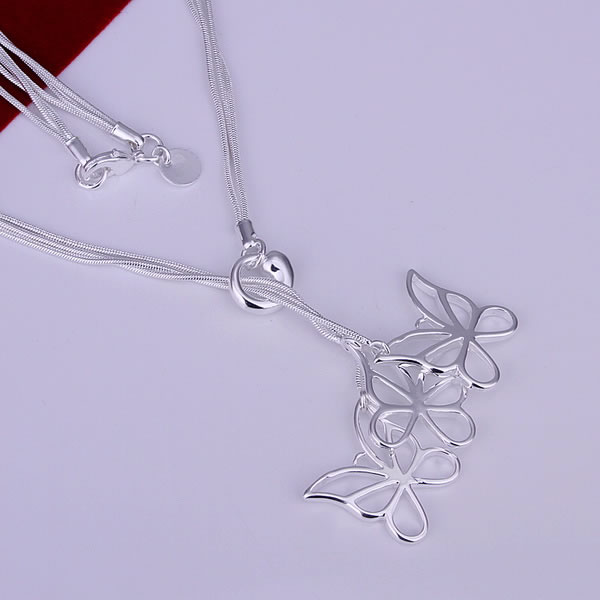 GSSPN043/925 silver necklace,butterfly jewelry,flower style,beautiful pendant,wholesale factory price