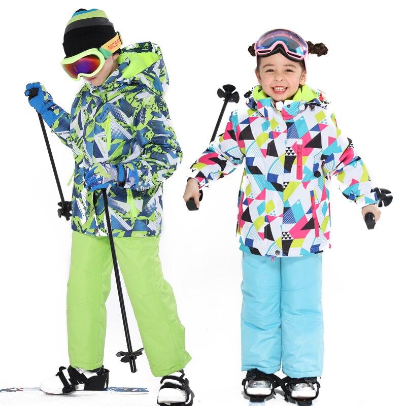 2018 dernier costume de Ski pour enfants hiver enfants coupe-vent imperméable Super chaud coloré fille et garçon veste et pantalon de Ski de neige