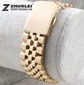 Envío gratis 18 mm 20 mm nuevos hombres para mujer del oro amarillo de acero inoxidable reloj de la correa pulseras de implementación de cierre hebilla